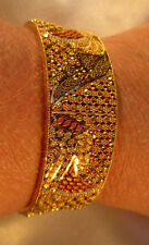 "22K Yellow Gold Bangle Bracelet Filigree Hinged 8"" x 3/4"" Solid .916 Gold 35.4g"