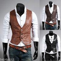 Hot Vintage Celebrity collection Men Casual Vest Slim fit PU Leather Waistcoat