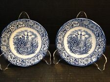 Staffordshire Liberty Blue Saucer Old North Church TWO