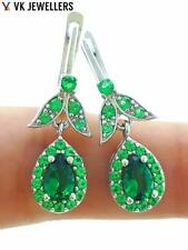 925 STERLING SILVER TURKISH HANDMADE JEWELRY EMERALD PEAR SHAPED EARRINGS E2284