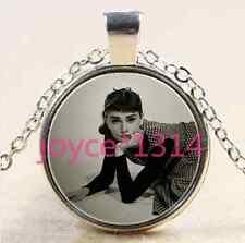 Audrey Hepburn Cabochon Tibetan silver Glass Chain Pendant Necklace #2316