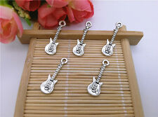 Wholesale 14pcs Tibet Silver Guitar Charm Pendant Beaded Jewelry DIY 54
