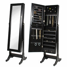 Black Mirror Jewelry Cabinet Armoire W/ Stand Mirror Rings, Necklaces, Bracelets