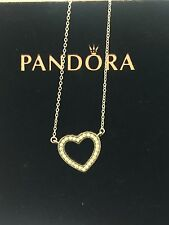 Authentic Genuine Pandora Silver Loving Hearts Clear CZ Necklace 590534CZ-45