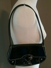 GUESS Small black handbag with G Logo Snap Flap Closure Evening Bag Pleather EUC