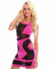 Abito aperto trasparente nudo no maniche Mini Bodycon open mesh dress clubwear M