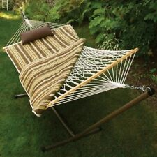Algoma Cotton Rope Hammock, Stand, Pad & Pillow Combination 8911S Hammock NEW