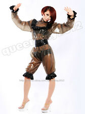 100%Latex Rubber 0.45mm Catsuit Suit Clothing Maid Ruffle Purfle Transparent Zip
