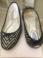 $625 Jimmy Choo Weber Black Gold Metallic Woven Ballet Flats Shoes 40 10 9.5