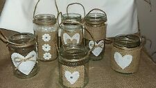 Wedding Christmas Hanging Rustic/Vintage Jars for Tealights,Hanging Decorations