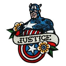 """Retro Captain America Fan """"Justice"""" Iron-On Patch Marvel Hero Character Applique"""