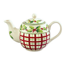 "Andrea by Sadek Porcelain 6 Cup Teapot Tea Pot 6.8"" HOLLY BERRIES (Plaid)"