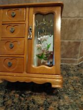 Vintage Wood Jewelry Box 4 Drawers 1 Cabinet w/  Flower Painted on Front