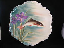 Limoges France Flambeau Fish Charger Plate Artist Signed Rene Excellent!