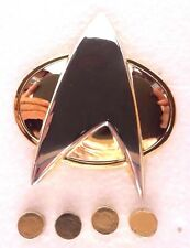 Star Trek:Next Generation Metal Communicator Pin & Captain Rank Pip Set of 5