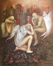 European Art Original Oil Painting On Canvas MONICA BLATTON male angel abstract