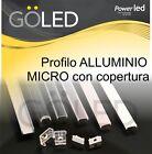 KIT Profilo alluminio per barra o strip LED 2mt cover trasparente, opaca, frost