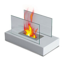 Bio Ethanol Fireplace Tab Table Top Firebox Heater Eco Friendly Fireplace White