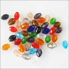 50 New Charms Faceted Rice Oval Glass Crystal Rondelle Spacer Beads Mixed 4mm