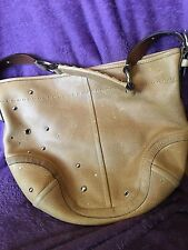 Coach VINTAGE tan satchel / hobo type soft leather purse. W large dust cover