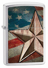 Zippo Windproof Lighter With Retro Star On American Flag, 28653, New In Box
