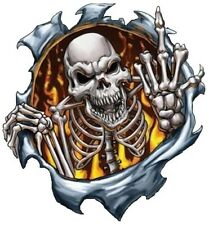 SKULL IN FLAME WITH MIDDLE FINGER BUMPER STICKER LAPTOP STICKER