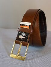 "Vintage retro true 60s unused 40"" 100 cm mens brown leather belt NOS tags as new"