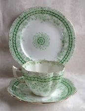 Antique Foley China Wileman Trio Fairy Green Pattern 9366 Cup Saucer Shelley