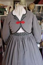 "Victorian Attire Civil War 2pc Dress Cotton 42""W Grey Suede Costume New"