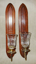 """Pair of wood & brass candle wall sconces, clear peg votive holders, 18""""  HOMCO"""