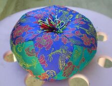 """Round Silk Tibetan Singing Bowl Cushion for Dharma 5 1/2"""" Turquoise and Blue"""