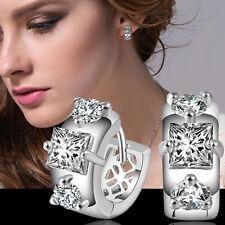 Hot Women's Crystal 925 Sterling Silver Ear Stud Hoop Earrings Jewelry Gift