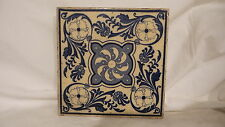 "Antique  TILE, Blue & White, Victorian Era, 6"", Registered, Floral Design"