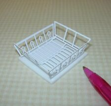 Miniature WHITE Metal Dish Drainer w/Foam MAT for DOLLHOUSE Kitchen 1/12 Scale