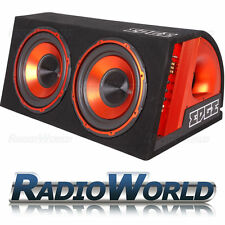"1800w bordo 12"" TWIN Active Subwoofer Sub Boom Box & amp kit di cablaggio + edb12ta"
