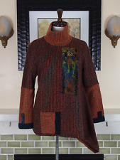 Lee Anderson Made in USA Asymmetrical Patchwork Lagenlook Art To Wear Sweater S