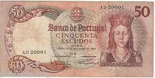 1964 Portugal 50 Escudos {AD20001} ~~ CIRCULATED // VF