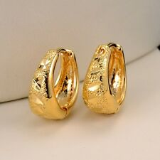 New 18k Yellow Gold Filled Carved Womens Earrings 14MM Cute Hoop Fashion Jewelry