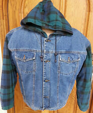 AUTHENTIC GFC JEANS WEAR MENS DENIM JACKET HOODED SIZE LARGE NICE!!!