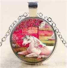Pretty Garden Unicorn Cabochon Glass Tibet Silver Chain Pendant  Necklace
