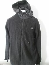 BENCH - BLACK ZIP UP, KNITED HOODI SIZE SMALL - 70% ACRYLIX 30% WOOL
