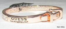 GUESS  Jeans Rhinestones Bangle Bracelet Rose gold Tone Charms Pave Logo NWT