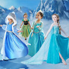 Kids Girls Princess ANNA Dress FROZEN Queen Cosplay Costume Fancy Dress&Crown