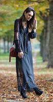 H&M Trend Chiffon Lace Ruffle Maxi Dress UK 6 8 10 12 14 18 / 32 36 38 40 42 46
