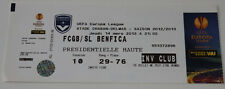 Ticket for collectors EL Girondins Bordeaux France - Benfica Lisboa Portugal