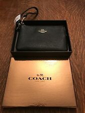 Coach Wristlet Coin Bag Small Purse Black Leather Brand New With Tags