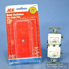 White Single Pole DOUBLE Toggle Wall Light Switch Control Duplex 15A 31975