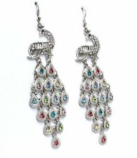 New Statement Silver Tone Multicoloured Crystal Peacock Bird Chandelier Drop Ear