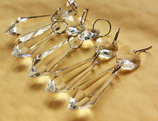 30PCS CLEAR CHANDELIER GLASS CRYSTALS LAMP PRISMS PARTS TEARDROP SILVER RINGS