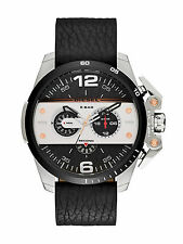 NWT Diesel Ironside Mens Chronograph Watch Black Dial Black Leather DZ4361